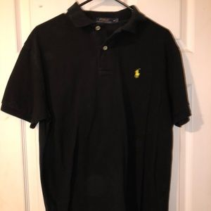 Black Men's Short Sleeve Collared Polo
